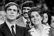 21 Aug 1972, Miami, Florida, USA --- David Eisenhower (the grandson of President Dwight Eisenhower) and his wife, Julie Nixon Eisenhower showing support for her father, the Republican President Richard Nixon, at the 1972 30th Republican Convention. Nixon is campaigning for presidential reelection against the South Dakota Democrat Senator George S. McGovern --- Image by © JP Laffont/Sygma/Corbis