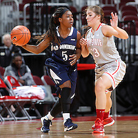 Old Dominion Lady Monarchs guard Galaisha Goodhope (5) is guarded by Ohio State Buckeyes guard Cait Craft (13) during Friday's NCAA Division I basketball game at Value City Arena in Columbus on November 22, 2013. Ohio State won the game 75-60. (Barbara J. Perenic/The Columbus Dispatch)
