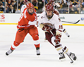 Alex Chiasson (BU - 9), Chris Kreider (BC - 19) - The Boston College Eagles defeated the Boston University Terriers 3-2 (OT) in their Beanpot opener on Monday, February 7, 2011, at TD Garden in Boston, Massachusetts.