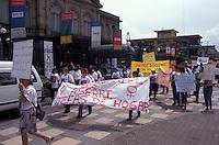 Women protesting domestic violence, downtown San Jose, Costa Rica
