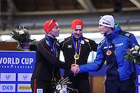 SCHAATSEN: BERLIJN: Sportforum Berlin, 06-12-2014, ISU World Cup, Podium 1000m Men Division A, Samuel Schwarz (GER), Nico Ihle (GER), Hein Otterspeer (NED), ©foto Martin de Jong