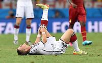 FUSSBALL WM 2014  VORRUNDE    GRUPPE G     Deutschland - Ghana                 21.06.2014 Bastian Schweinsteiger (Deutschland) liegt verletzt am Boden