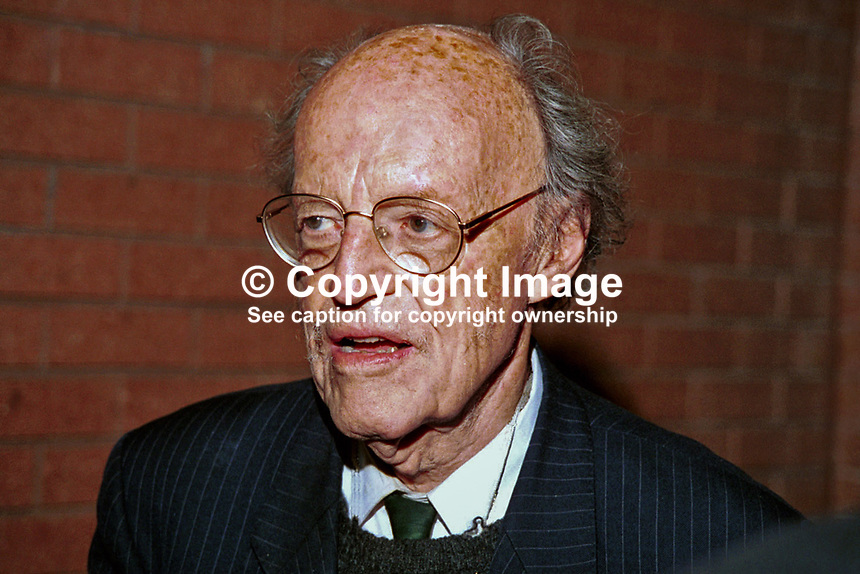 Lord Longford, aka Frank Pakenham, Peer, Labour Party, Britain, UK, Author, Journalist. Photograph taken at 1996 Conservative Party Conference in Bournemouth. Ref: 199610356..Copyright Image from Victor Patterson, 54 Dorchester Park, Belfast, UK, BT9 6RJ..Tel: +44 28 9066 1296.Mob: +44 7802 353836.Voicemail +44 20 8816 7153.Skype: victorpattersonbelfast.Email: victorpatterson@mac.com.Email: victorpatterson@ireland.com (back-up)..IMPORTANT: If you wish to use this image or any other of my images please go to www.victorpatterson.com and click on the Terms & Conditions. Then contact me by email or phone with the reference number(s) of the image(s) concerned.