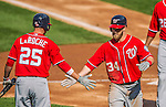 20 April 2013: Washington Nationals outfielder Bryce Harper returns to the dugout after hitting a two-run home run in the third inning against the New York Mets at Citi Field in Flushing, NY. Harper went 3 for 3 with 3 RBIs and two home runs as the Nationals defeated the Mets 7-6 to tie their 3-game series at one a piece. Mandatory Credit: Ed Wolfstein Photo *** RAW (NEF) Image File Available ***