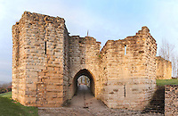 The Porte Saint Jean, or St John's Gate, built 1286-1306, at the medieval castle of Chateau-Thierry, Picardy, France. The first fortifications on this spur over the river Marne date from the 4th century and the first castle was built in the 9th century Merovingian period by the counts of Vermandois. Thibaud II enlarged the castle in the 12th century and built the Tour Thibaud, and Thibaud IV expanded it significantly in the 13th century to include 17 defensive towers in the walls and an East and South gate. The castle was largely destroyed in the French Revolution after having been a royal palace since 1285. In 1814 it was used as a citadel for Napoleonic troops. Picture by Manuel Cohen