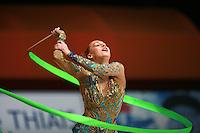 Natalya Godunko of Ukraine turns with ribbon at 2007 Thiais Grand Prix near Paris, France on March 25, 2007.