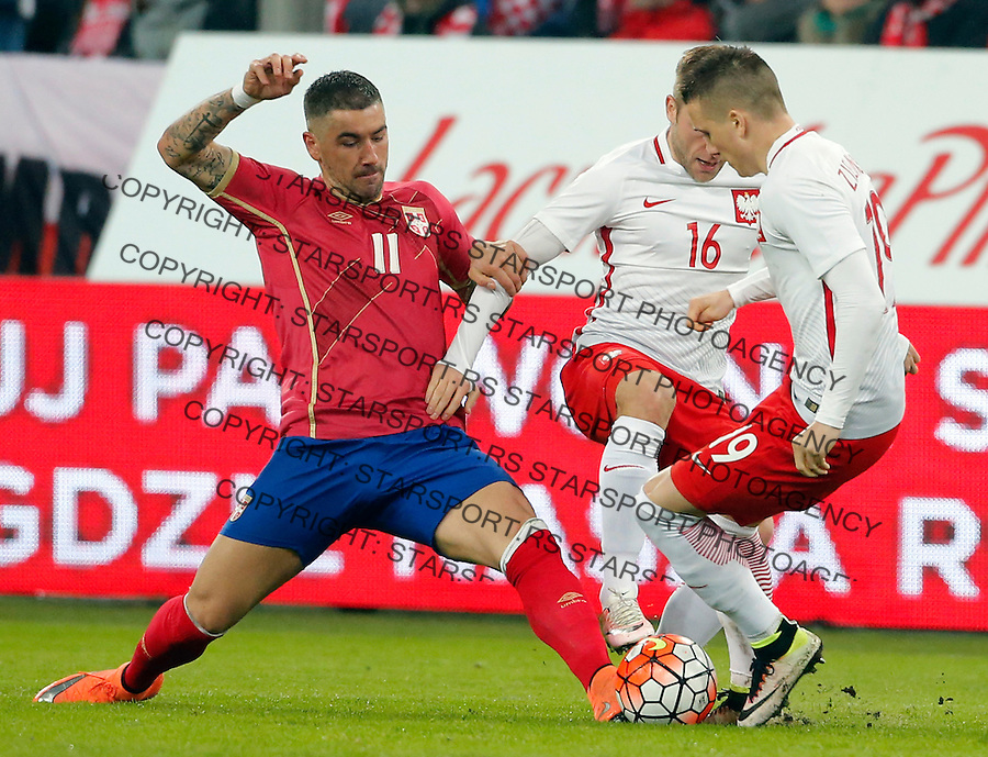 Aleksandar Kolarov Poljska - Srbija prijateljska, Poland - Serbia friendly football match, March 23. 2016. Poznan  (credit image & photo: Pedja Milosavljevic / STARSPORT)