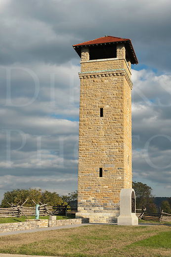 Antietam National Military Park, obervation tower above Bloody Lane and Irish Brigade monument, Sharpsburg, MD, USA.