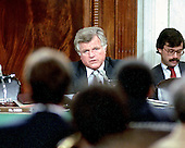 "Washington, DC - (FILE) -- United States Senator Edward M. ""Ted"" Kennedy (Democrat of Massachusetts) questions a witness during the confirmation hearings for Judge Robert Bork as Associate Justice of the Supreme Court before the U.S. Senate Judiciary Committee on September 21, 1987..Credit: Arnie Sachs / CNP"
