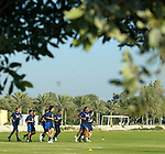 Rangers training, Dubai 14.1.2003: Rangers train in an aluminium smelting compound by the shores of the Gulf