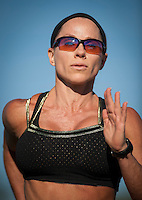 Fitness legend Monica Brant, photographed during a track workout, Sunday, Oct. 6, 2013 in Schertz, Texas. (Darren Abate/M3D14.com) CONTACT PHOTOGRAPHER TO LICENSE THIS IMAGE.