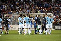 Chelsea and Manchester City players shake hands at the end of the game.Manchester City defeated Chelsea 4-3 in an international friendly at Busch Stadium, St Louis, Missouri.