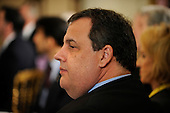 Governor Chris Christie (Republican of New Jersey) attends the National Governors Association meeting in the White House State Dining Room on Monday, February 27, 2012, in Washington, DC. .Credit: Leslie E. Kossoff / Pool via CNP