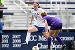 14 September 2014: Duke's Kelly Cobb (9) and LSU's Megan Lee (NZL) (right). The Duke University Blue Devils hosted the Louisiana State University Tigers at Koskinen Stadium in Durham, North Carolina in a 2014 NCAA Division I Women's Soccer match. Duke won the game 1-0.