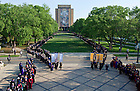 May 19, 2013; Students process into Notre Dame Stadium for the 2013 Commencement. Photo by Barbara Johnston/University of Notre Dame