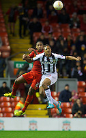 LIVERPOOL, ENGLAND - Thursday, October 4, 2012: Liverpool's Glen Johnson in action against Udinese Calcio's Mathias Ranegie during the UEFA Europa League Group A match at Anfield. (Pic by David Rawcliffe/Propaganda)