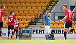 St Johnstone v FC Spartak Trnava...31.07.14  Europa League 3rd Round Qualifier<br /> Lee Croft holds his head as Ivan Schranz celebrates his second goal<br /> Picture by Graeme Hart.<br /> Copyright Perthshire Picture Agency<br /> Tel: 01738 623350  Mobile: 07990 594431