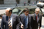 Mexican senators Cesar Raul Ojeda (L), Javier Corral and Manuel Bartlett arrives at the Senate venue to address a press conference with media on Telecommunications Law approved by the Mexican Congress, May 4, 2006. Forty-six Senators handed over an action against Telecommunications Law, best known as Ley Televisa  before the Supreme Court in order to declare it unconstitutional as the  46 Senators declared that the law directly benefits the two biggest broadcasting groups, Televisa and TV Azteca, since they are granted free digital spectrum.Photo by Javier Rodriguez