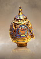 Limoges Gothic Christian thurible or incense burner, 13th century. Copper engraved with an application of Champlevé enamelling. Origin Unknown. Inv MNAC 4550. National Museum of Catalan Art (MNAC), Barcelona, Spain