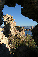 "The Mono Lake Tufa State Reserve is located near Yosemite National Park within Mono County, in eastern California. It was established in 1981 by the California State Legislature, to preserve the natural limestone ""tufa tower"" formations at Mono Lake calcium-carbonate spires and knobs formed by interaction of freshwater springs and alkaline lake water. It also protects the lake surface itself as well as the wetlands and other sensitive habitat for the 1 to 2 million birds that feed and rest at Mono Lake each year."