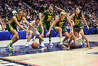 "03-06-17 AAC Tournament.  UCONN women up by 40 points still ""crashing"" the floor in the third period as they dominate over USF, 100-44."