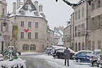 Beaune France - Street scen in snow
