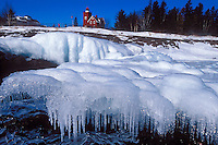 The Two Harbors Minnesota Lighthouse on Lake Superior in winter.