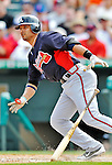 13 March 2012: Atlanta Braves third baseman Martin Prado in action during a Spring Training game against the Miami Marlins at Roger Dean Stadium in Jupiter, Florida. The two teams battled to a 2-2 tie playing 10 innings of Grapefruit League action. Mandatory Credit: Ed Wolfstein Photo