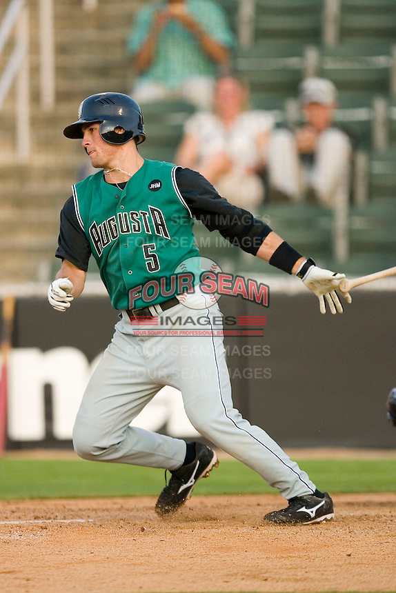 Charlie Culberson #5 of the Augusta GreenJackets follows through on his swing versus the Kannapolis Intimidators at Fieldcrest Cannon Stadium July 24, 2009 in Kannapolis, North Carolina. (Photo by Brian Westerholt / Four Seam Images)