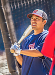21 April 2013: Washington Nationals catcher Kurt Suzuki awaits his turn in the batting cage prior to a game against the New York Mets at Citi Field in Flushing, NY. The Mets shut out the visiting Nationals 2-0, taking the rubber match of their 3-game weekend series. Mandatory Credit: Ed Wolfstein Photo *** RAW (NEF) Image File Available ***