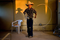 A young charro shows off his skill with a reata at the Charro Ranch in San Antonio.