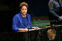 New York City, NY. 23 September 2014.Brazilian President Dilma Rousseff speaks at the 69th United Nations General Assembly at United Nations Headquarters.  Photo by Kena Betancur/VIEWpress
