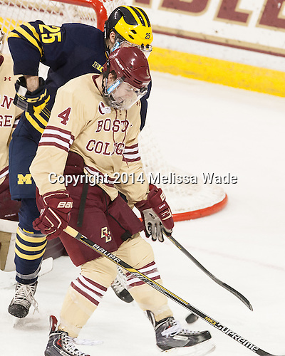 Max Shuart (Michigan - 25), Teddy Doherty (BC - 4) - The Boston College Eagles defeated the visiting University of Michigan Wolverines 5-1 (EN) on Saturday, December 13, 2014, at Kelley Rink in Conte Forum in Chestnut Hill, Massachusetts.