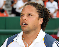 Cobi Jones assistant coach of the Los Angeles Galaxy during an MLS match against D.C. United at RFK Stadium on July 18 2010, in Washington D.C. Galaxy won 2-1.
