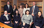 MIDDLEBURY, CT-- 19 January 2005   011905DA01.JPG --Engelman and Engelman. Standing l-r, Attorney, Lawrence H. Engelman, Deyanira Engelman, Alyson Marcucil, Roseann D'Amelio, and Attorney, Michael R. Pohl. Sittin l-r Rebecca Fischetto, Terri Dolecki, Maria Lorusso, and Ellen Ober. For marketplace. Staff photo. Darlene Douty.