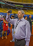 1 April 2016: Montreal broadcaster Elliott Price records a cellphone video clip prior to a pre-season exhibition game between the Blue Jays and the Boston Red Sox at Olympic Stadium in Montreal, Quebec, Canada. The Red Sox defeated the Blue Jays 4-2 in the first of two MLB weekend exhibition games, which saw an attendance of 52,682 at the former home on the Montreal Expos. Mandatory Credit: Ed Wolfstein Photo *** RAW (NEF) Image File Available ***
