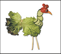 "BNPS.co.uk (01202 558833).Pic: DanielRicon/BNPS..***Please Use Full Byline***..Cockerel...Leonardo Da Veggie!..An artist has transformed humble salad ingredients into works of art in a bid to encourage children to eat their greens...Daniel Ricon bought bags of lettuce, tomatoes, carrot, and cucumber and began layering them on a plate to make the healthy snacks seem more exciting...He created impressive pictures of animals including a cucumber crocodile, and a runner bean lion...Daniel also made a cat, duck, crab, owl, lion, rabbit, penguin, fish, cock, and even a martian...After completing each plate he took a picture and posted it to his website to document his wacky artwork...Daniel, 60, a visual artist from Paris in France, said: ""I have used flowers, leaves, stones, shells, hands, sweets and cakes in my work and it resulted in me working with vegetables...""Working with vegetables is to present a fun way to eat food to children and invite them to try unusual things...""The goal is to make a dish salad to encourage children to eat everything, the subjects are placed on a plate to be eaten......"