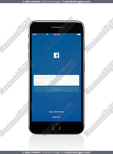 Apple iPhone 7 Plus with Facebook login screen on its display isolated on white background with clipping path