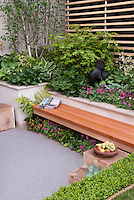 Foliage Garden &amp; patio, raised beds, with wooden bench, blanket