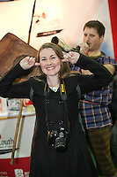 NO REPRO FEE: 27.1.12: Minister of State at the Department of Tourism, Michael Ring TD, officially opens the Holiday World Show Dublin at the RDS Simmonscourt. Pictured at the Visit Louth stand was Gilly Cullen and MacDara O Graham (Fionn mac Cumhaill) . The Show runs until 5.30pm on Sunday 29th January.  Picture Collins Photos.