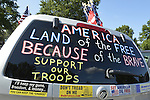 Aug. 18, 2012 - Farmingdale, New York, U.S.: Patriot Guard Riders' car, which displayed slogans related to patriotism and to faith, carried 30 American Flags to burial ceremony of Marine Lance Corporal Greg Buckley Jr, 21 - the Oceanside native killed in Afghanistan 9 days earlier - at Long Island National Cemetery.