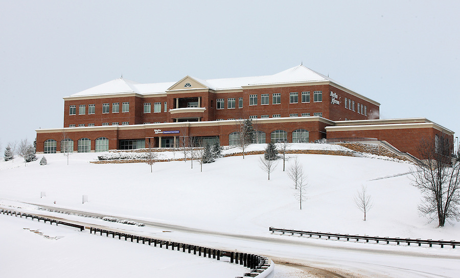Snow covered martha jefferson hospital in Charlottesville, Va.