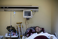 Thursday 19, May 2016: MUSTAFA ALHII, field commander of the Libyan army, lays at the General Hospital in Misrata City as he receives medical care after he got injured by shrapnel during a terrorist attack carried out by the IS (Islamic State) in Abu Grain, Libya.