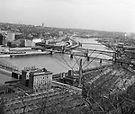 Pittsburgh PA:  View from Mt. Washington, looking across the Monongahela River toward the Oakland section of Pittsburgh - 1962