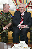 04/04/2008.Lieutenant General Pat Nash, the Operational Commander of EUFOR Chad Mission & An Taoiseach Bertie Ahern, TD during a meeting between the two at McKee Barracks, Blackhorse Ave, Dublin..Photo: Gareth Chaney Collins