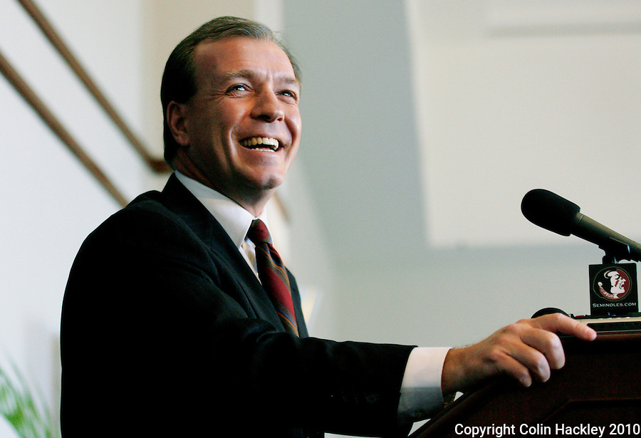 TALLAHASSEE, FLA. 1/6/10-FISHER 010610 CH09-Jimbo Fisher talks about his new job as head coach of the Florida State University football team, Wednesday during a news conference in Tallahassee...COLIN HACKLEY PHOTO