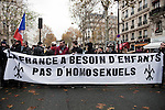 Protest against same sex marriage, by Civitas catholic integrist, in Paris, november 18th 2012