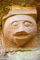 Norman Romanesque exterior corbel no 52 - sculpture of a featureless human. The Norman Romanesque Church of St Mary and St David, Kilpeck Herefordshire, England. Built around 1140