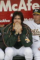 OAKLAND, CA - JUNE 15: Barry Zito of the Oakland Athletics  during the game against the New York Mets at McAfee Coliseum on June 15, 2005 in Oakland, California. The A's defeated the Mets 3-2. (Photo by Michael Zagaris /MLB Photos via Getty Images)