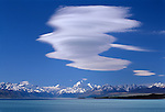 Dramatic cloud formation above Mount Cook and Lake Pukaki. Canterbury New Zealand.